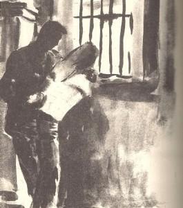 Από τη β' περίοδο: 1945 – 1966. Έργο του Ασαντούρ Μπαχαριάν  με θέμα τη μελέτη στις φυλακές  Κέρκυρας.  (Πηγή: Αρχείο οικογένειας Α. Μπαχαριάν)