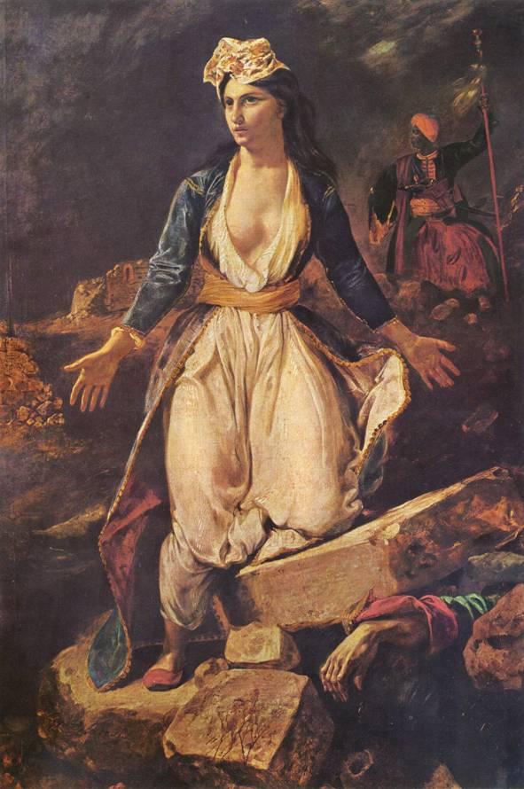 «Η Ελλάδα στα ερείπια του Μεσολογγίου» (1827, Μουσείο Καλών Τεχνών Μπορντώ)
