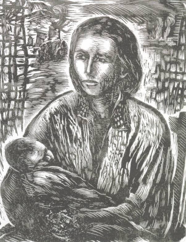 Κούλα Μπεκιάρη: Μάνα με παιδί, μετά τον πόλεμο - προσφυγιά (ξυλογραφία όρθιο ξύλο)