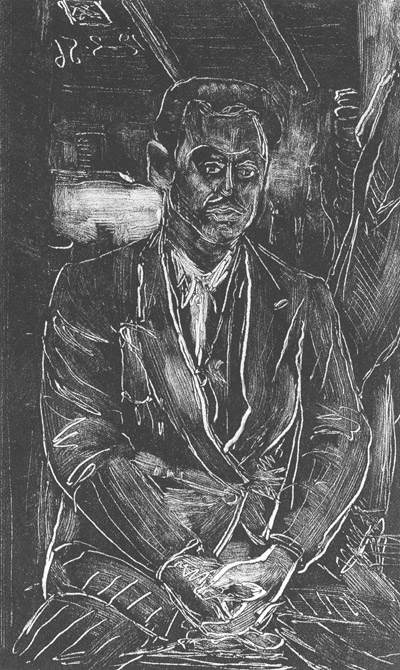 Παναγιώτης Ελής, Aη Στράτης 1956. Έργο του Χρίστου Δαγκλή (μονοτυπία)