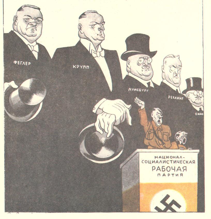 Ο ΦΥΡΕΡ ΤΟΥΣ Χίτλερ: ― Με ακολουθούν εκατομμύρια!... (Πίσω του: Φέγκλερ, Κρουπ, Ντούισμπουργκ, Ρέχλινγκ. Στο βήμα γράφει: «Εθνικό σοσιαλιστικό Εργατικό Κόμμα»).