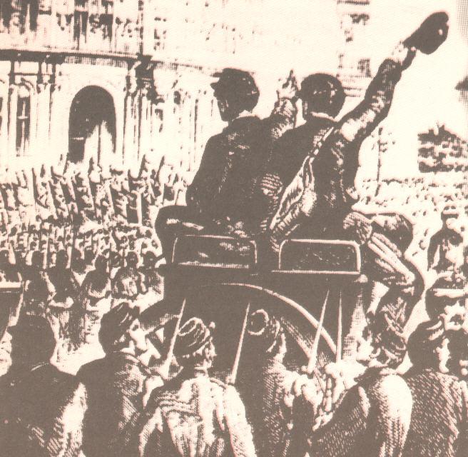 Η επίσημη ανακήρυξη της Κομμούνας στο Δημαρχείο, στις 28 Μάρτη 1871.
