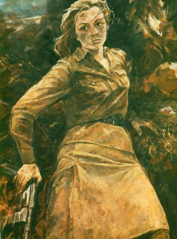 «Η ηρωίδα της μάχης του Στάλινγκραντ Νατάσσα Κατσουέφσκαγια».  Έργο του συμμαθητή της Νατάσσας, ζωγράφου Ι. Μπαλντίν