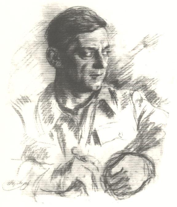 Κ. Βιδάλης. Σκίτσο του Δημ. Μεγαλίδη (Λάζαρου Αρσενίου «Η δολοφονία του Κώστα Βιδάλη»)