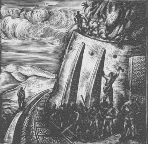 Μια από τις θαυμάσιες ξυλογραφίες του Α. Τάσσου που κοσμούν το βιβλίο «Βροντάει ο Όλυμπος»