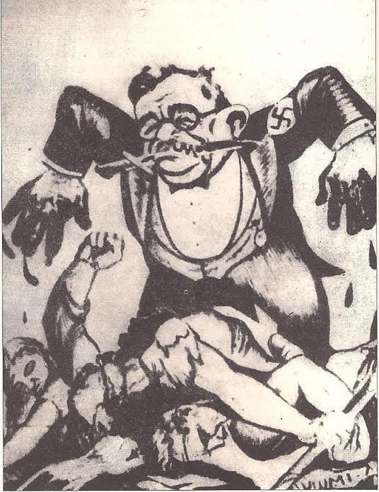 Το σκίτσο του Ι.Μεταξά δημοσιευμένο στο Ριζοσπάστη της 11ης Μαΐου 1936 μετά τα γεγονότα της Θεσσαλονίκης