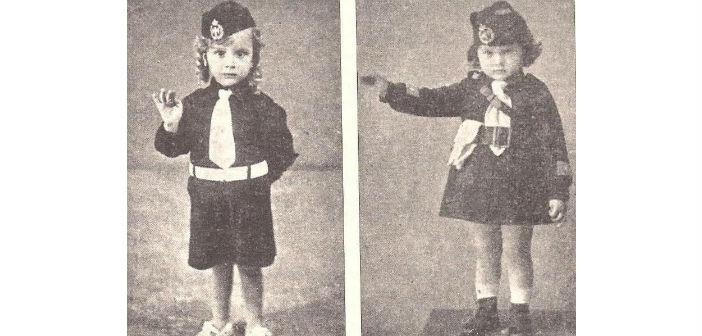 Νήπια με τη μαύρη στολή της ΕΟΝ χαιρετούν φασιστικά