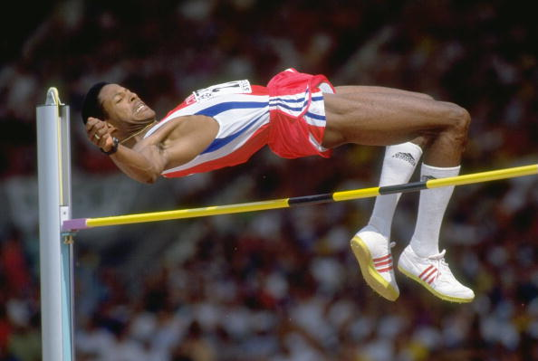 Aug 1993:  Javier Sotomayor of Cuba clears the bar during the High Jump event at the World Championships at the Gottlieb Daimler Stadium in Stutttgart, Germany. Sotomayor won the gold medal in this event.  Mandatory Credit: Mike  Powell/Allsport