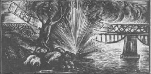 Ξυλογραφία του Α. Τάσσου από το βιβλίο του Αντ. Αγγελούλη (Βρατσάνου) «Βροντάει ο Όλυμπος»