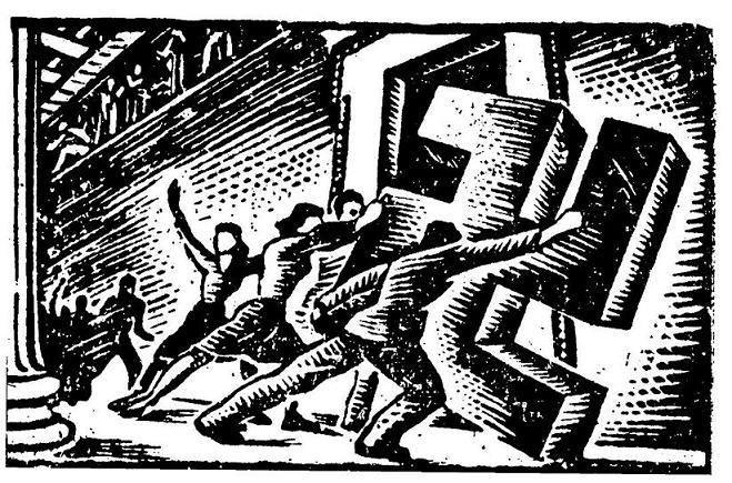 Γιάννης Στεφανίδης, Αντιφασιστικό, ξυλογραφία 1941, κυκλοφόρησε παράνομα ως αφισέτα τυπωμένη σε χασαπόχαρτο