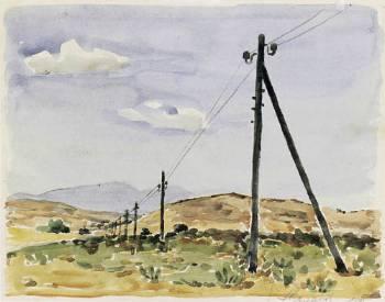 Γιάννης Στεφανίδης, νερομπογιά, Κοντοπούλι Λήμνου 1949