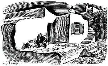 Γιάννης Στεφανίδης, χαρακτικό, Μύκονος 1942