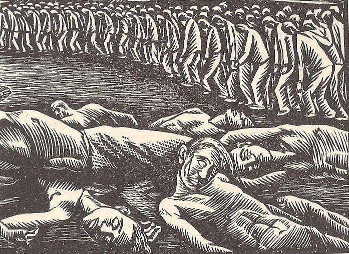 Δυο πλάνα, δυο σκηνές: πάνω ο σάλαγος στον αυλόγυρο και κάτω τα σακατεμένα θύματα (Ξυλογραφικό σκίτσο ανώνυμου)
