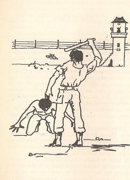 Μια γωνιά της αυλής του Φιξ (Σκίτσο Βαγγέλη Κατσάνου)