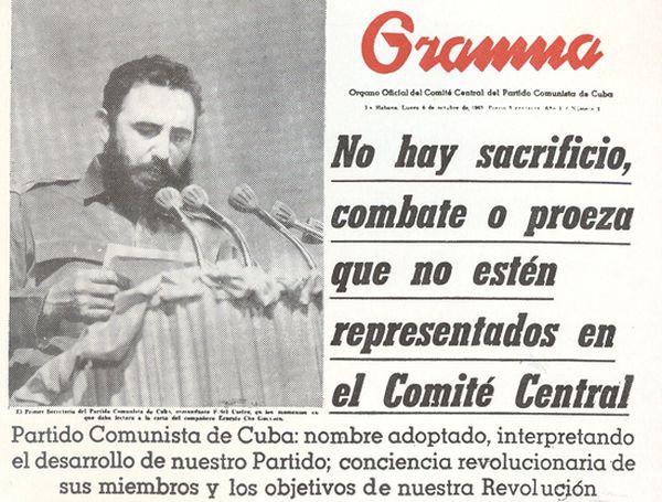 Η πρώτη σελίδα της Granma με τα κυριότερα γεγονότα της ημέρας εκείνης