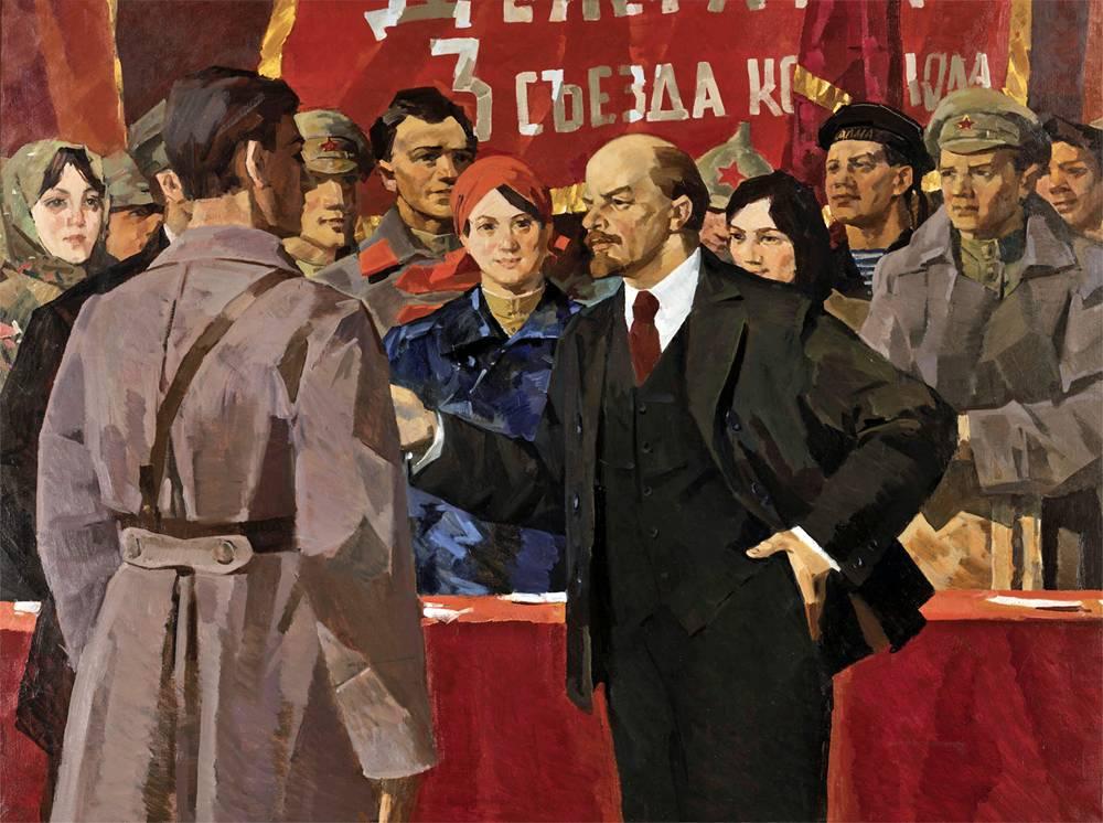 «Ο Λένιν στο τρίτο συνέδριο της Κομσομόλ». Έργο του σοβιετικού ζωγράφου Αλεξάντρ Λομίκιν (1969)