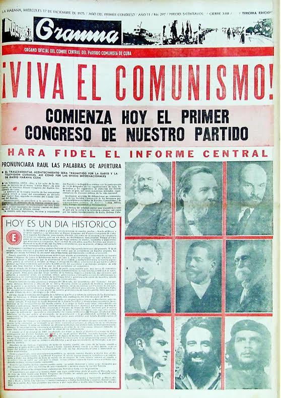 Εξώφυλλο Granma 17 Δεκέμβρη 1975 καλεί στο συνέδριο. Μετά τον Λένιν ακολουθεί η φωτογραφία του Μαρτί.
