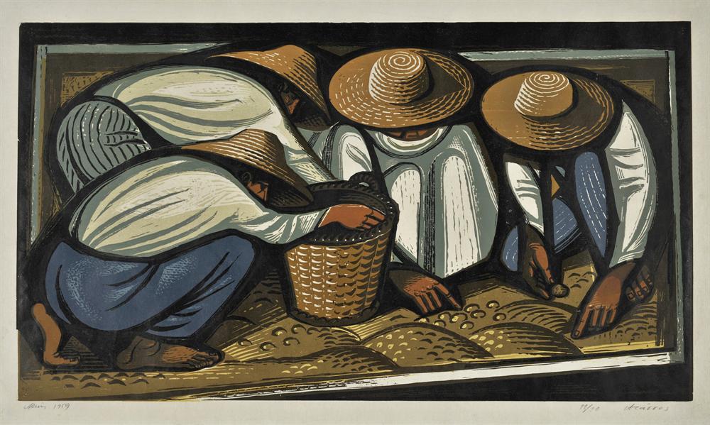 Ο καρπός, 1959 Έγχρωμη ξυλογραφία , 35,5 x 62 εκ.