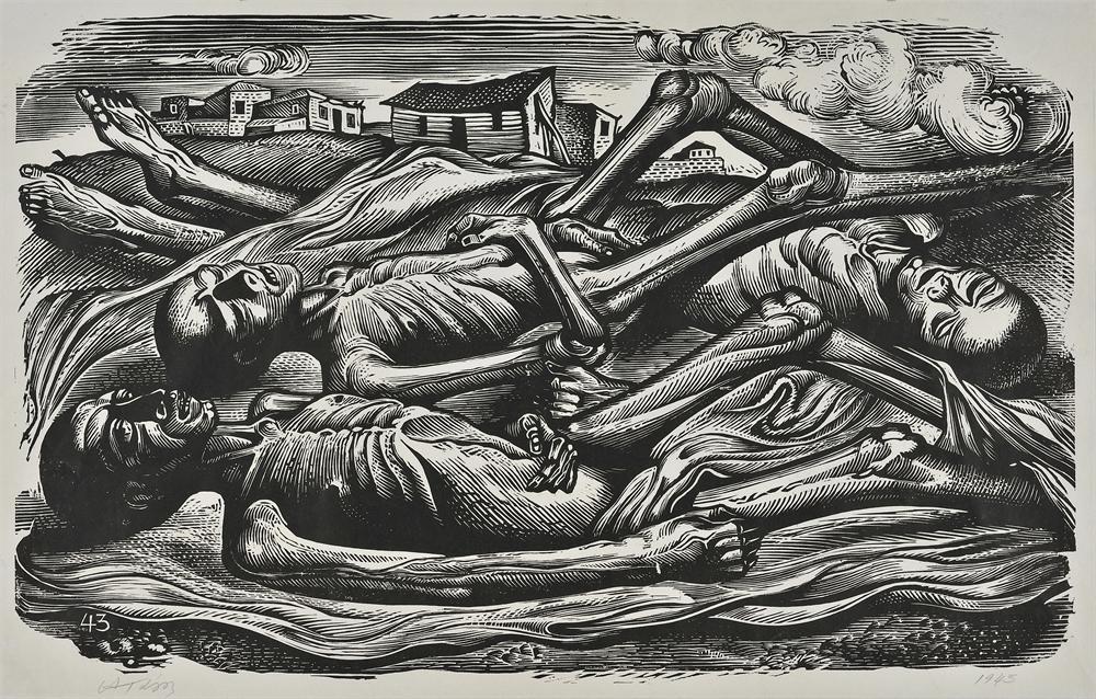 Η πείνα, 1943 Ξυλογραφία, 32 x 50 εκ.