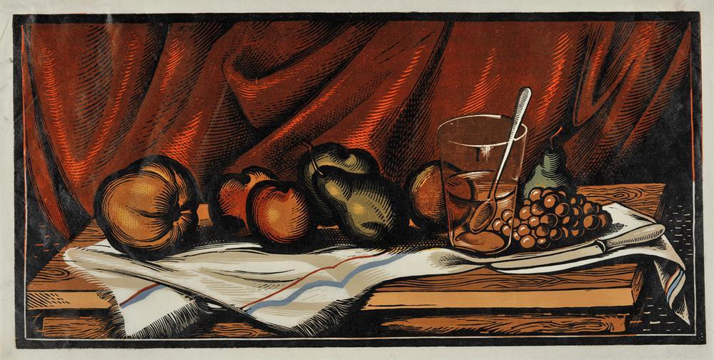 Τραπέζι με αντικείμενα, 1947 Έγχρωμη ξυλογραφία, 28 x 58 εκ.