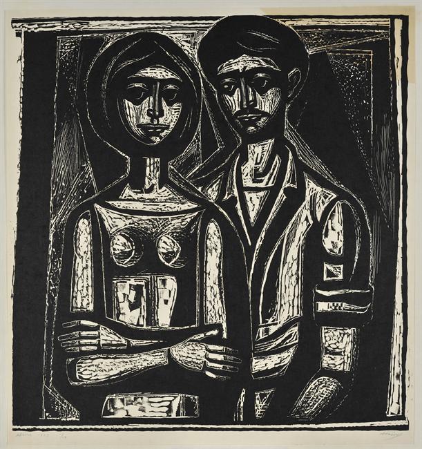 Σύνθεση με δύο φιγούρες, 1963 Ξυλογραφία, 67 x 70 εκ.