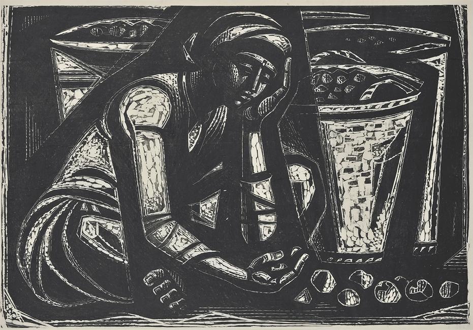 Βαριά κούραση, 1963 Ξυλογραφία , 68 x 99 εκ.