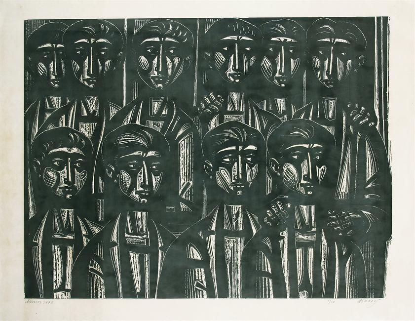 Ακροατήριο με άντρες ΙΙΙ, 1970 Ξυλογραφία εκ.