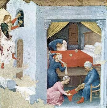 Ο Αγιος Νικόλαος ρίχνει από το παράθυρο χρήματα στη φτωχή οικογένεια (ιταλική απεικόνιση)