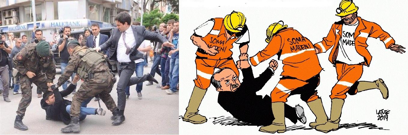 Το 2014 Ο Λατούφ παίρνοντας ως θέμα τον Γιουσούφ Γερκέλ-ακόλουθο του πρωθυπουργού που κλώτσησε μεταλλωρύχο κατά την επίσκεψη του Ερντογάν στην Σόμα, σχεδίασε αυτό το σκίτσο με τον υπότιτλο «αυτή είναι η εικόνα που πραγματικά θα θέλαμε να δούμε»