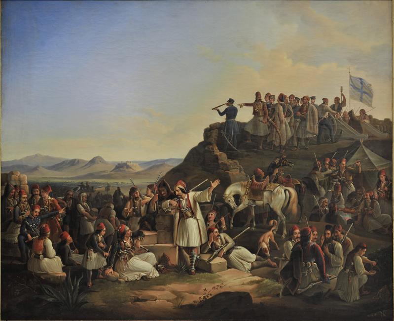 Θεόδωρου Βρυζάκη, Το στρατόπεδο του Καραϊσκάκη, 1855 (Λάδι σε μουσαμά, 145 x 178 εκ.), Εθνική Πινακοθήκη