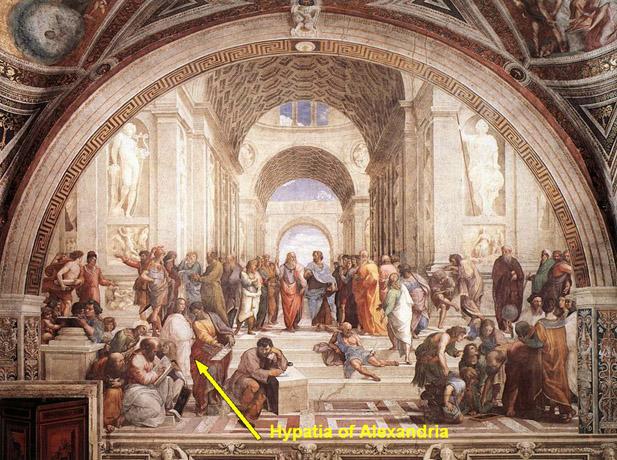 Στον πίνακα του Αναγεννησιακού καλλιτέχνη Ραφαήλ «Η σχολή των Αθηνών» τα μεγαλύτερα μυαλά του αρχαίου κόσμου συγκεντρώνονται για συζήτηση. . . και ανάμεσά τους βρίσκεται μια μονάχα γυναίκα. Είναι ντυμένη λευκά, που στέκεται προς τα εμπρός-αριστερά, και ατενίζει έξω από την εικόνα προς εμάς. Είναι η Υπατία της Αλεξάνδρειας.