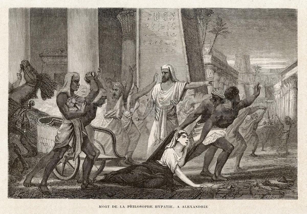 Στους δρόμους της Αλεξάνδρειας ο όχλος δολοφονεί βάναυσα την Υπατία («Ο θάνατος του φιλοσόφου Υπατίας στην Αλεξάνδρεια» το 1866, από τον Louis Figuier).