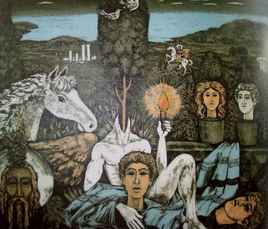 Παπαγεωργίου Δημήτρης, Έπεσαν για όλου του κόσμου το ψωμί το φως και το τραγούδι, Έγχρωμη χαλκογραφία