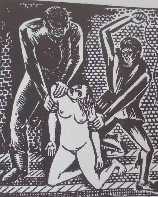 Χρίστος Δαγκλής, Γουδί, 29 μαΐου 1944, ξυλογραφία εμπνευσμένη από το μαρτύριο της αγωνίστριας Άννας Παρλιάρου