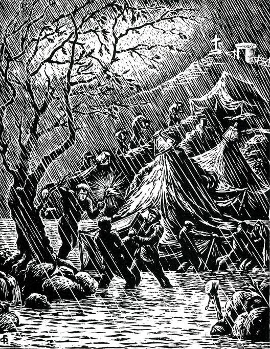 «Πλυμμήρα». Ξυλογραφία σε όρθιο ξύλο και φυσικό μέγεθος. Στην κορφή δεξιά το φυλάκιο του Αη Μηνά κι ο σταυρός απ' το μνημείο στους νεκρούς εξόριστους της Κατοχής. Μέσα στην κρύπτη του, τριάντα τρία κρανία με τ' όνομα του καθενός.