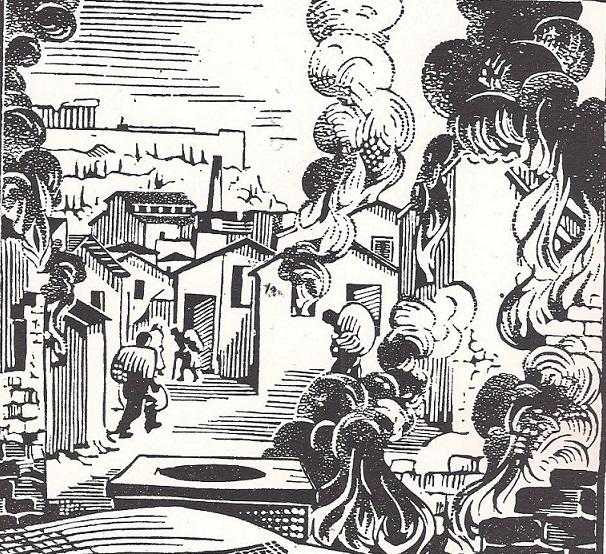 Κώστας Πλακωτάρης, «Μπλόκο στο Δουργούτι» ξυλογραφία