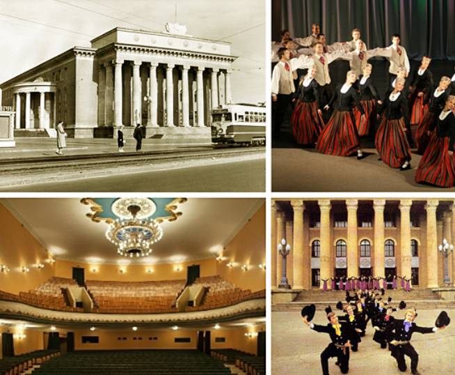 Το Παλάτι Πολιτισμού του εργοστασίου VEF και στιγμιότυπα από πολιτιστικές εκδηλώσεις στις οποίες πρωταγωνιστούν οι εργαζόμενοι.