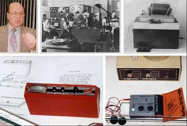 """Ο μηχανικός Λέο Ρόζε. Εφευρέσεις και καινοτόμα προϊόντα VEF. Κάτω δεξιά: Εξοπλισμός μαγνητικής θεραπείας """"VEF Reflex 01-12"""""""