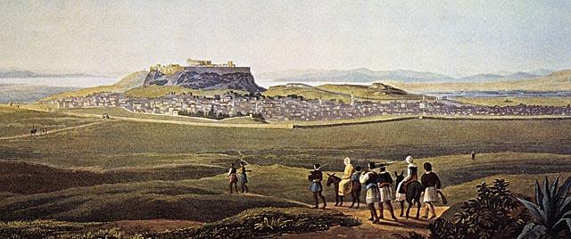 Η Αθήνα το 1810 όπως την αντίκρισε ο Λόρδος Βύρων. Πίνακας του Richard Temple, συνοδού του Βύρωνα. Στα αριστερά η Πύλη του Αδριανού και δεξιά στο βάθος το Θησείο