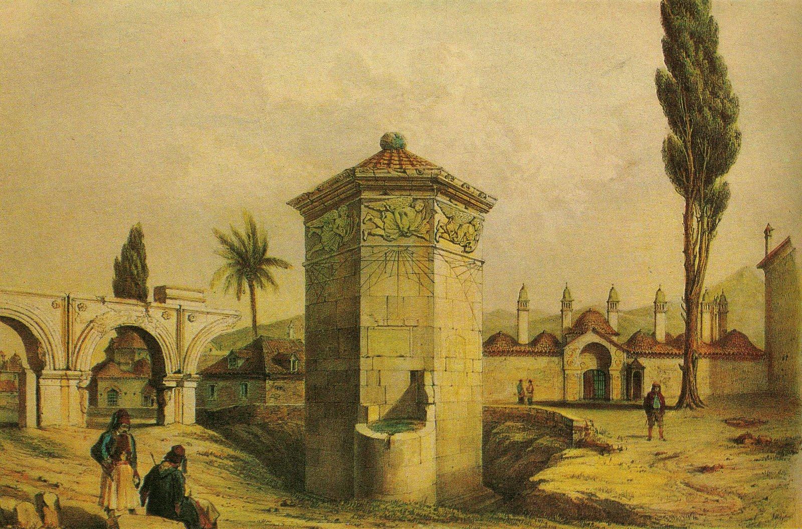 Αθήνα - το Ωρολογιο του Κυρρηήστου το 1840, ή άλλως ο Πύργος των Ανέμων. Πίσω του βρίσκονταν τουρκικά κτίσματα (Μεντρεσές). Πίνακας του Du Moncel.
