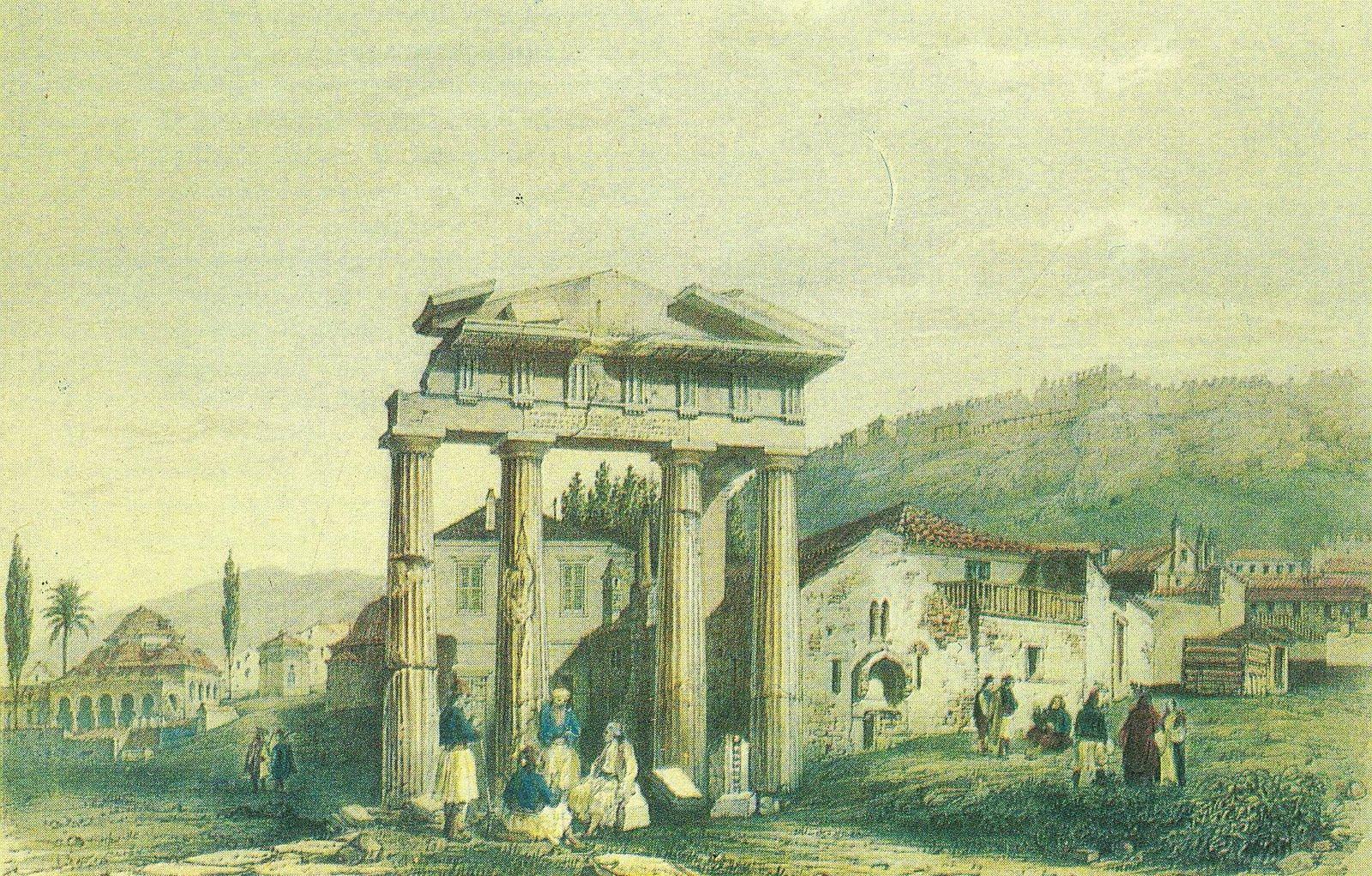 Αθήνα – Η πύλη της αγοράς (Η Παζαρόπορτα)] το 1830. Στα δεξιά φαίνεται η εκκλησία της Σωτήρας της Παζαρόπορτας, που δεν υπάρχει σήμερα, παράξενος μικρός ΝαΪσκος γιατί είχε το ιερό του στραμμένο προς στον Βορρά και όχι στην Ανατολή.