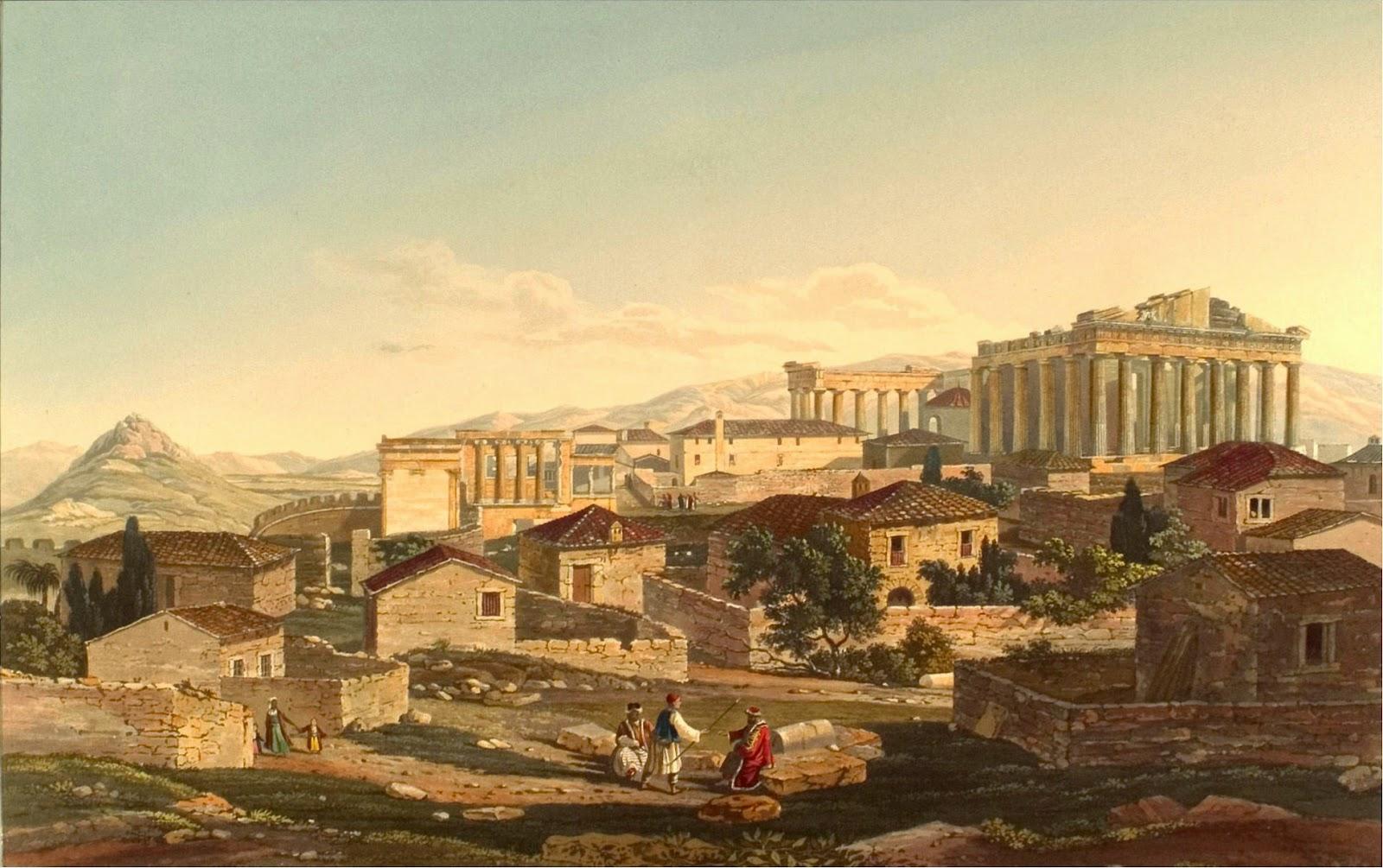 ΑΘΗΝΑ: Η Ακρόπολη το 1802 στην Τουρκοκρατία. Πίνακας του Ε.Dodwell. Ο πίνακας περιέχει ακριβείς λεπτομέρειες για το εσωτερικό της Ακρόπολης λίγο πριν από την επανάσταση του 1821. Στο βάθος φαίνεται ο Υμηττός, αριστερά ο Λυκαβηττός, που τότε λεγόταν Άγχεσμος και πίσω του το Πεντελικό όρος.