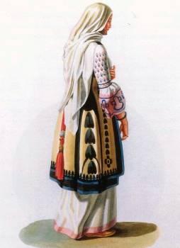 Χωρική από τα περίχωρα της Αθήνας με τα γιορτινά της ρούχα (έργο του Otto M. von Stackelberg, Βερολίνο 1831). Μουσείο Μπενάκη