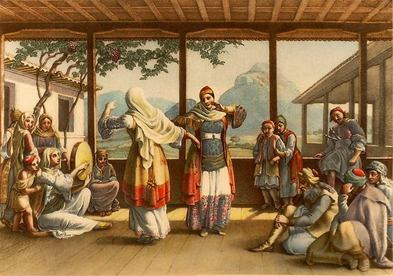 Χορός «Πάνω - Κάτω» στο σπίτι του Γάσπαρη στην Αθήνα (έργο του Otto M. von Stackelberg, Βερολίνο 1831). Μουσείο Μπενάκη