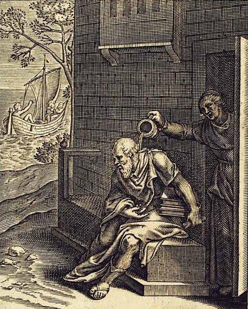 Η πιο γνωστή σκηνή είναι αυτή που η Ξανθίππη πετάει πάνω στο Σωκράτη ένα κανάτι με νερό αμέσως μετά από ένα καυγά. Φημολογείται ότι ο Σωκράτης απλά είπε: «Η Ξανθίππη κάνει ό,τι και ο Δίας, πρώτα βροντά και ύστερα βρέχει»!..