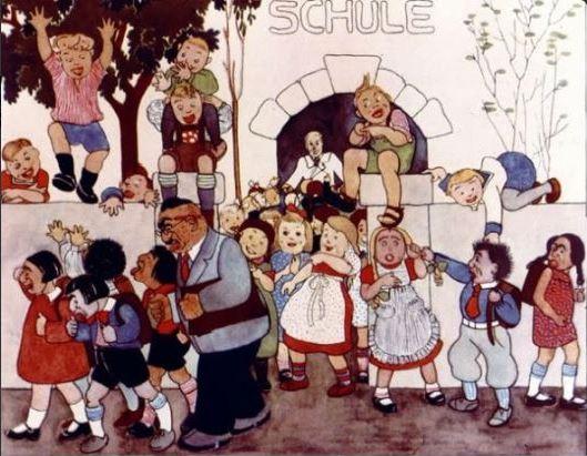Εικόνα από παραμύθι των Ναζί. Οι Εβραίοι μαθητές διώχνονται από το σχολείο ενώ οι Αριοί μαθητές ζητοκραυγάζουν