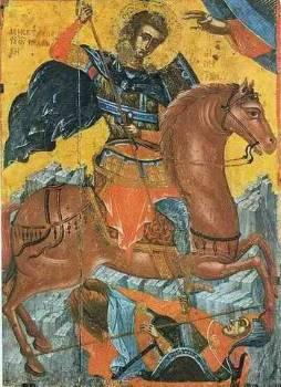 Εικονογραφική παράσταση του αγίου που παρουσιάζει τρομερή σύμπτωση με αυτήτου νεαρού Δεξίλεω. Ο Αϊ-Δημήτρης για μια ακόμη φορά σώζει την πολιορκούμενηΘεσσαλονίκη. Εδώ σκοτώνει τον Βούλγαρο ηγεμόνα Ιωάννη Ασσάνη, αποκαλούμενοκαι ως Σκυλογιάννη, το 1207.Ολοι οι στρατιωτικοί αποδίδονται από τη χριστιανική αγιογραφία καβαλάρηδες,αντλώντας από τους αρχαίους μύθους, αλλά και το ακριτικό και στρατιωτικόπνεύμα του Βυζαντίου του 6ου-7ου αιώνα