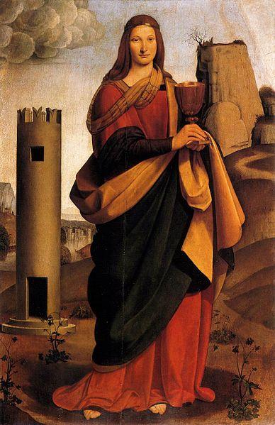 Giovanni Antonio Baltraffio (1467-1515). Eλαιογραφία. Εικονίζεται όρθια μπροστά από πύργο και να κρατά δισκοπότηρο. Επειδή η αγία είχε βίαιο θάνατο προστατεύει τους ανθρώπους από κάτι αντίστοιχο. Το δισκοπότηρο που κρατά αυτό ακριβώς δηλώνει: Κανείς δε θα πεθάνει αν πρώτα δε μεταλάβει