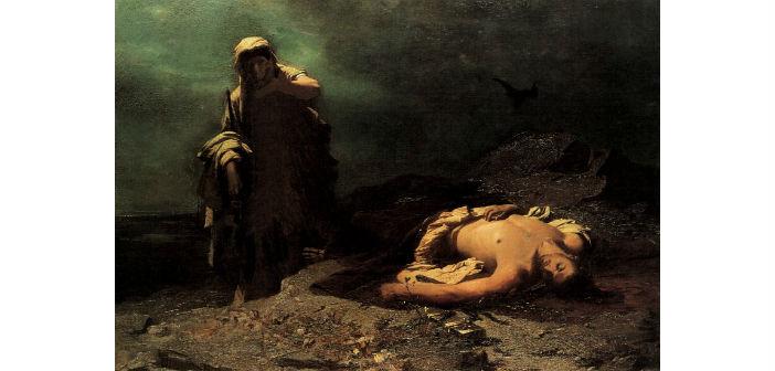Η Αντιγόνη εμπρός στο νεκρό Πολυνείκη. Νικηφόρος Λύτρας (1865)