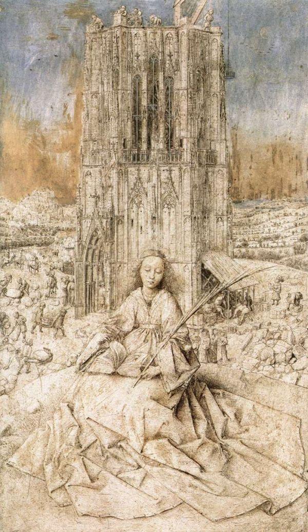 Η Βαρβάρα έζησε στη Νικομήδεια, κόρη τοπικού ειδολωλάτρη άρχοντα. Ηταν προικισμένη με σπάνια ομορφιά. Επειδή η φήμη της εξαπλωνόταν, ο πατέρας της για να προστατέψει την αγνότητά της την έκλεισε σε έναν πύργο ώστε να μην τη βλέπει κανείς.Ετσι ένα από τα εμβλήματα της αγίας είναι ο πύργος(έργο του Jan va Eyck, «grisaille» σε ξύλο, τεχνική που χρησιμοποιήθηκε στην Αναγέννηση με τη χρήση 7 στρωμάτων χρώματος για να αποδώσει το γκρίζο χρώμα)